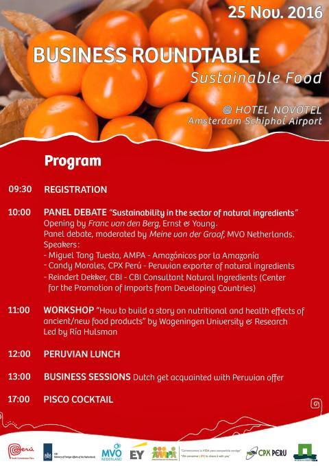 "25 november: Business Event ""Sustainable Food Peru-NL"""