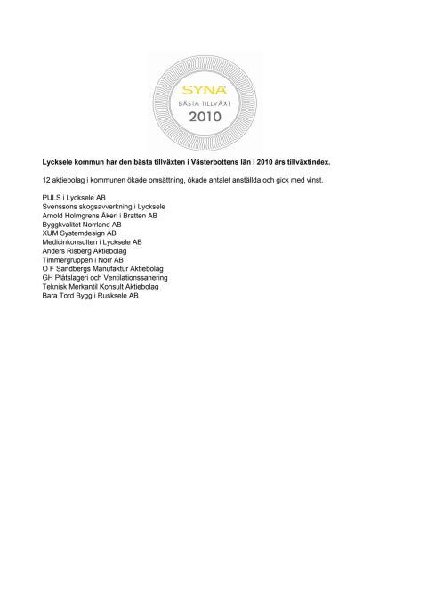 Företagen bakom Bästa Tillväxt 2010 i Lycksele kommun.