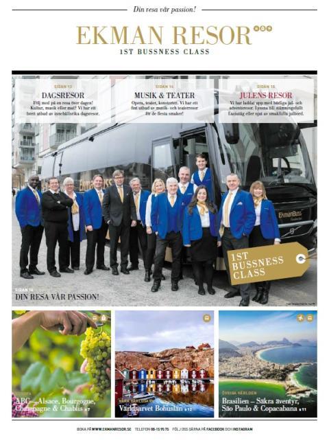 EkmanResor 1st Bussness Class Reseprogram Nr 4 2017-2018 – Din resa vår passion!