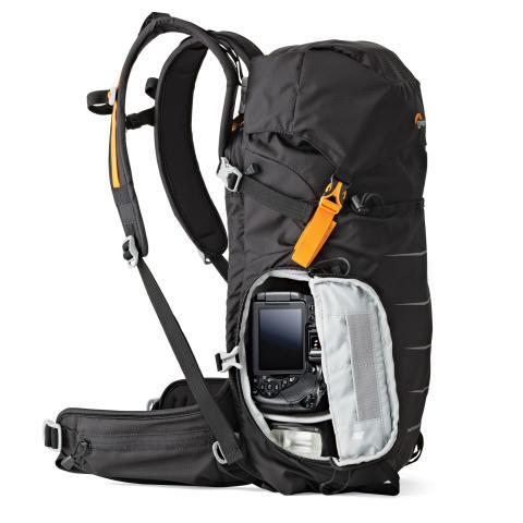 Lowepro Photo Sport II BP200 AW fra siden med utstyr
