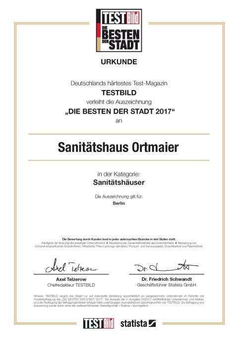 Urkunde_Sanitätshaus Ortmaier_Die Besten der Stadt 2017