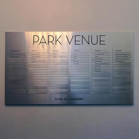 Hänvisningsskylt Park venue