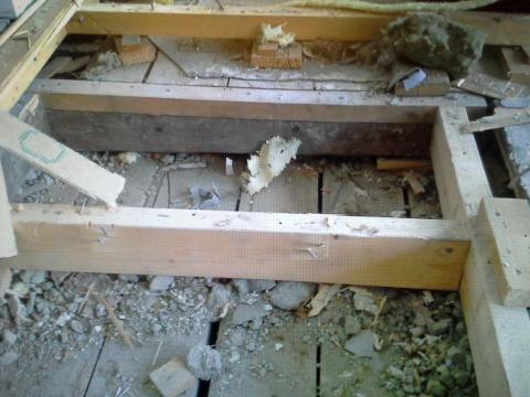 Revet opp gulv pga rotter