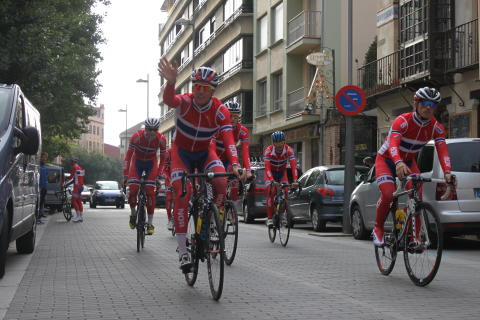 U23 landslaget på trening under sykkel-VM 2014