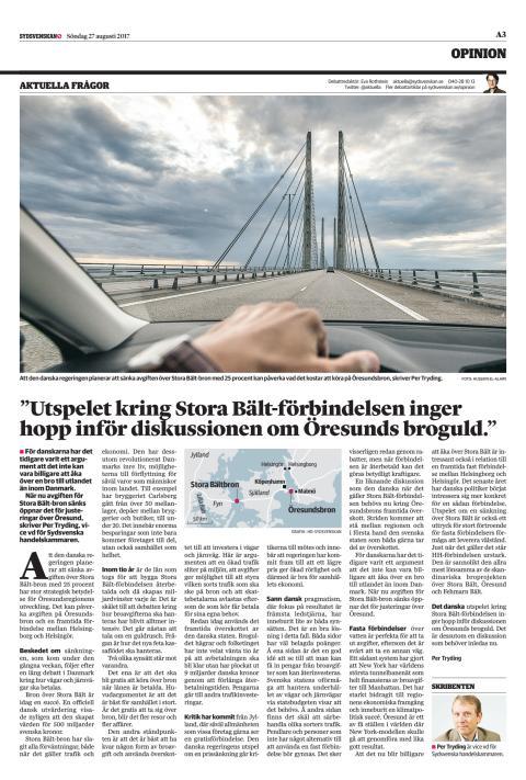 """""""Det danska utspelet kring Stora Bält-förbindelsen inger hopp inför diskussionen om Öresunds broguld."""""""