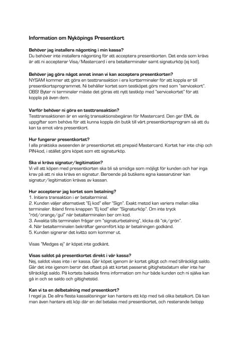 Nyköpings Presentkort INFO
