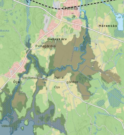 Karta över drabbade områden.