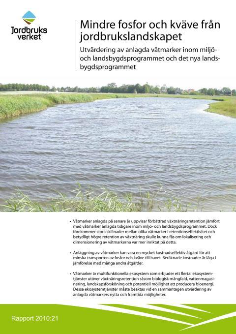 """Rapport: """"Mindre kväve och fosfor från jordbrukslandskapet"""" (2010:21)"""