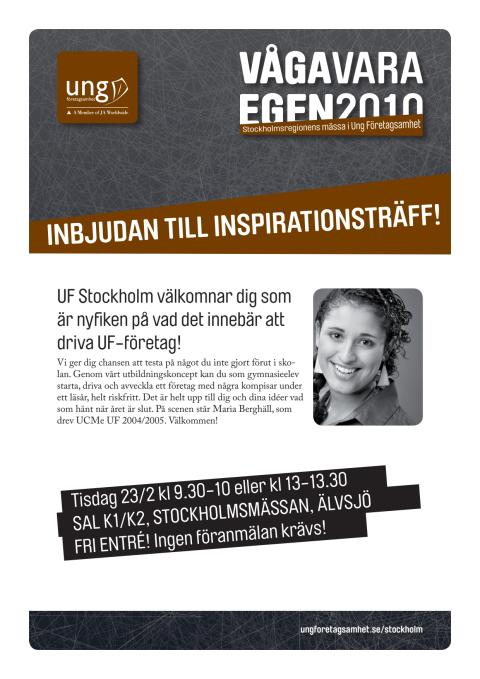 Inbjudan till elevinspiration 23 feb kl 09:30-10:00 & 13:00-13:30
