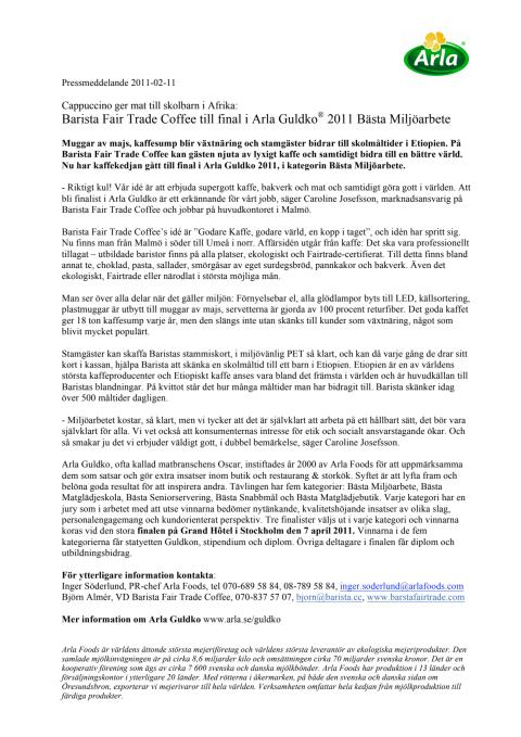 Barista Fair Trade Coffee till final i Arla Guldko® 2011 Bästa Miljöarbete