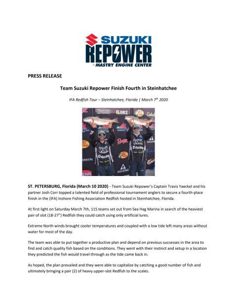 Team Suzuki Repower Finish Fourth in Steinhatchee