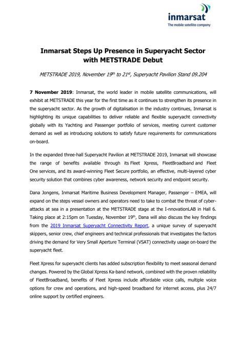 Inmarsat Steps Up Presence in Superyacht Sector with METSTRADE Debut