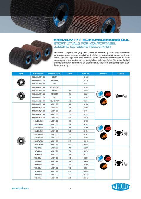 Produktblad TYROLIT PREMIUM SLIPE / POLERINGSGHJUL