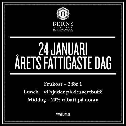 Fira årets fattigaste dag på Berns Asiatiska!