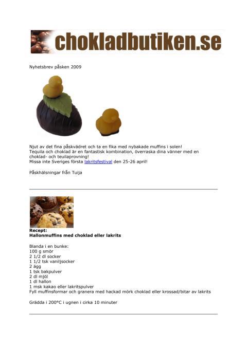 Nyhetsbrev påsken 2009 från Chokladbutiken.se & Lakritsbutiken.se