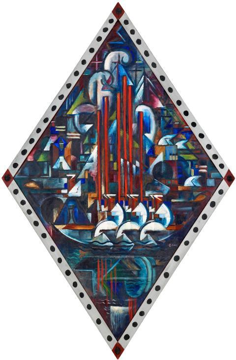 Roddexercis:Rodd, 1917, olja 146,5 x 94,5 cm (romboid), (inkl. av konstnären dekorerad originalram 161 x 103,5 cm), Privat ägo