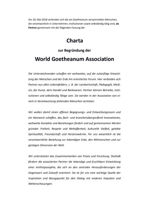 World Goetheanum Association Charta 2018
