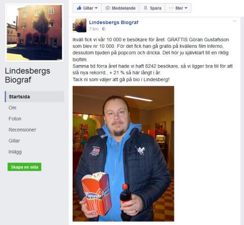 Folkets Hus Bio i Lindesberg på väg mot nya rekord