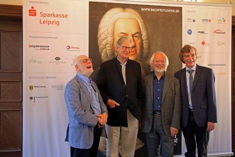 Bachfest Leipzig 2018 - die Bach-Interpreten freuen sich auf das Bachfest - Ton Koopman, Sir John Eliot Gardiner, Masaaki Suzuki, Gotthold Schwarz (v. l.)