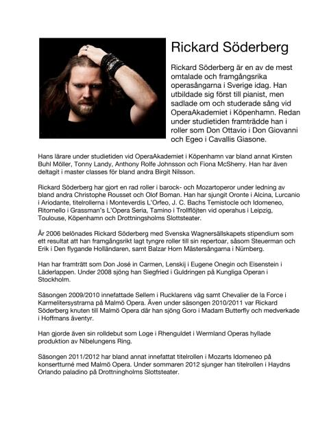 Singer Biography: Rickard Söderberg, tenor (in Swedish)