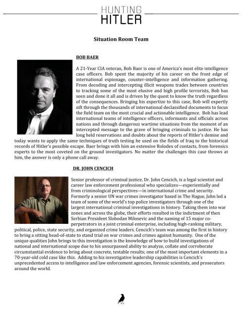 Hunting Hitler: Bob Baer ja John Cencich