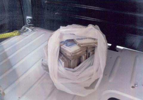 Cash seized from Hindle's vehicle