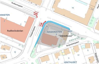 Begränsad framkomlighet vid korsningen Trädgårdsgatan–Rudbecksgatan