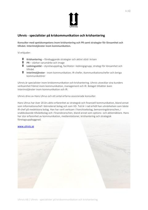 Uhrvis - specialister på kriskommunikation och krishantering