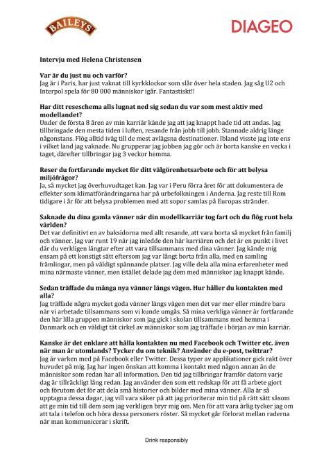 Intervju med Helena Christensen