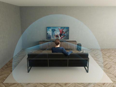 La primera barra de sonido  3.1 Dolby Atmos® que produce un sonido envolvente tridimensional virtual