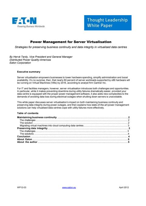 White paper: Krafthantering för virtualisering av servrar