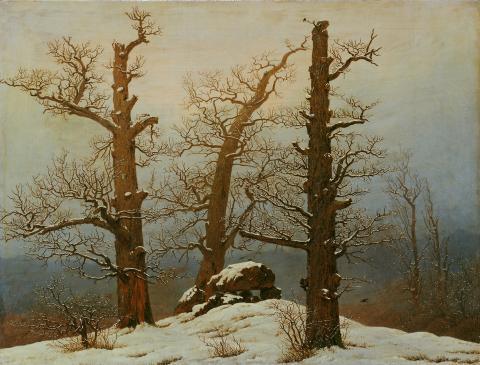 Alene med naturen. Caspar David Friedrich, Dysse i snø, 1807
