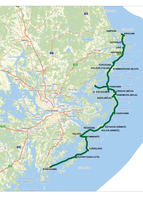Större båtar och brygga på Sandhamn för Nordsydlinjen