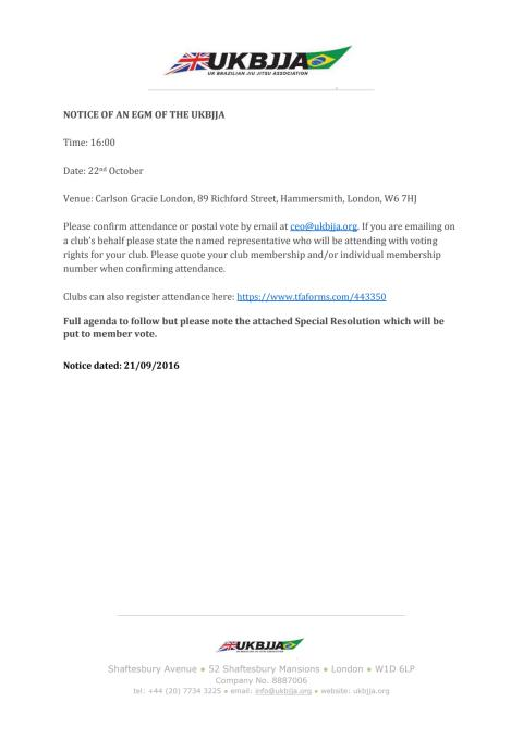 Notice of an EGM of the UKBJJA