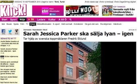 Sarah Jessica Parker ska sälja lyan – igen Tar hjälp av svenska toppmäklaren Fredrik Eklund