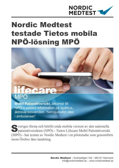 Referensblad: Nordic Medtest testade Tietos mobila NPÖ-lösning MPÖ