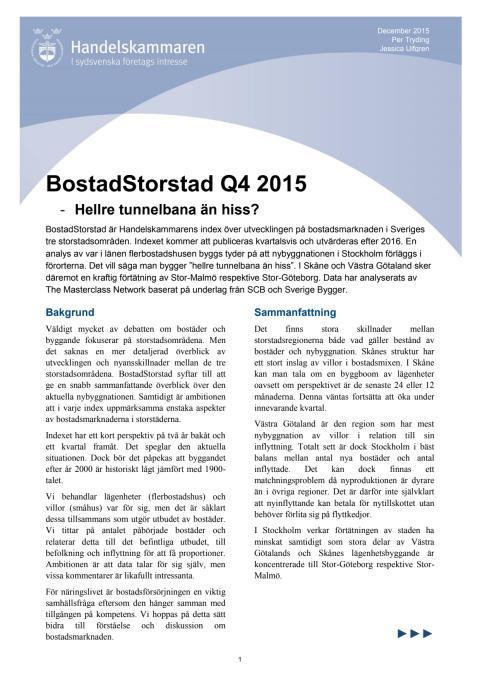BostadStorstad Q4 2015