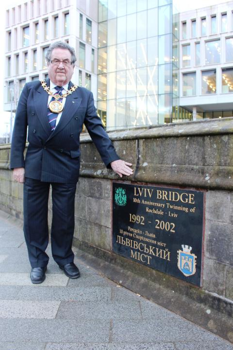 Mayor on Lviv Bridge in the Centre of Rochdale