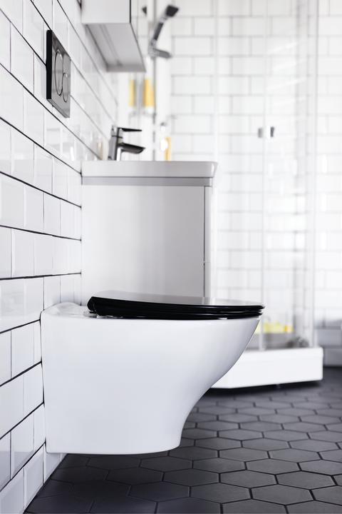 PORSGRUND Glow klosett i stilrent design. Seter leveres i fire farger; hvit, sort, lys grå  og mørk grå.