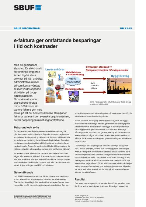 SBUF Informerar, nr. 12-15  e-faktura ger omfattande besparingar i tid och kostnader