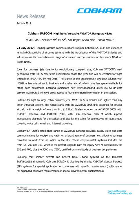 Cobham SATCOM Highlights Versatile AVIATOR Range at NBAA