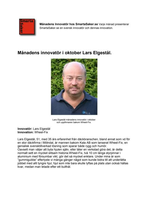 Lars Elgestål månadens innovatör i oktober