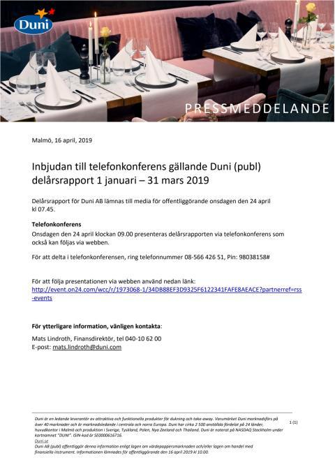 Inbjudan till telefonkonferens gällande Duni (publ) delårsrapport 1 januari – 31 mars 2019
