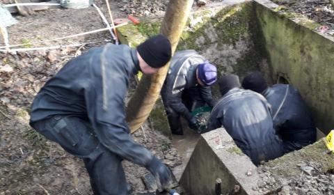 Officers searching part of the site