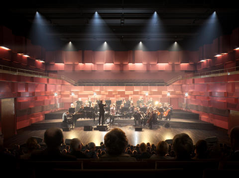 """""""Kungasalen"""", den stora konsertsalen i Kungl. Musikhögskolans nya campus, som står färdigt 2016. Bild: AIX Arkitekter."""