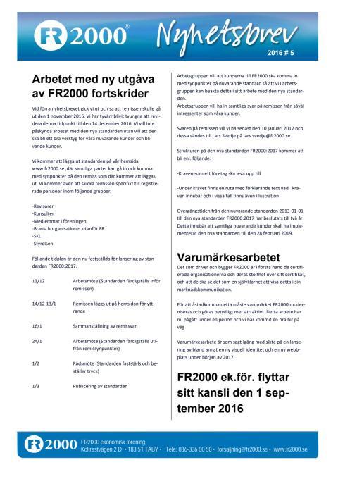 Nyhetsbrev FR2000 - Oktober 2016