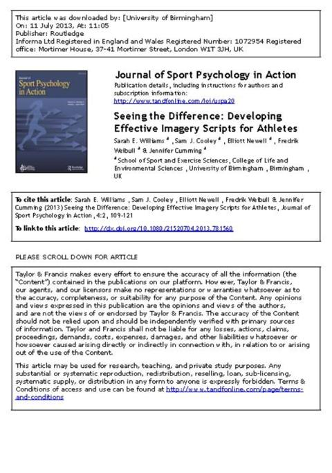 Read the most popular article in the Journal of Sport Psychology in Action (JSPA)