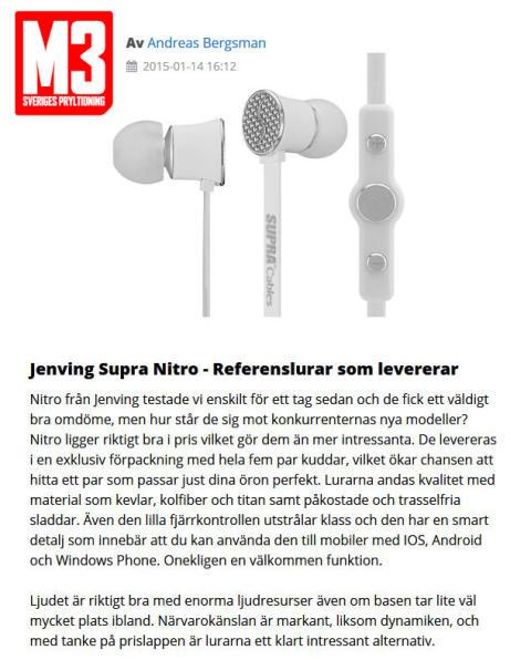 SUPRA NiTRO - Premium Referenslurar i tidningen M3
