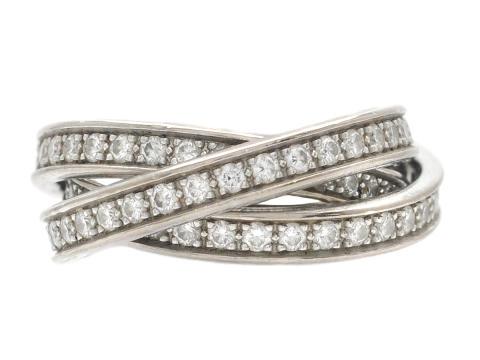 Moderna 15/6, Nr: 60, CARTIER, ring, Trinity, 18K vitguld, 99 briljantslipade diamanter