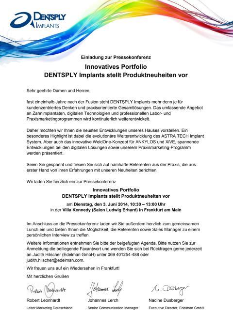 Einladung zur DENTSPLY Implants Pressekonferenz am 3. Juni 2014 in Frankfurt